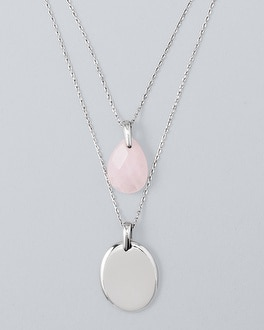 Convertible Rose Quartz Two Strand Necklace by Whbm