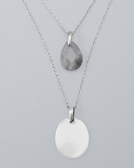 Convertible Gray Quartz Two Row Short Pendant Necklace by Whbm