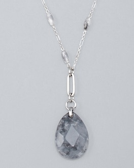 Teardrop Gray Quartz Long Pendant Necklace by Whbm