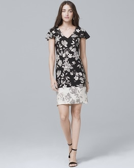 Flutter-Sleeve Floral-Print Knit Shift Dress | Tuggl