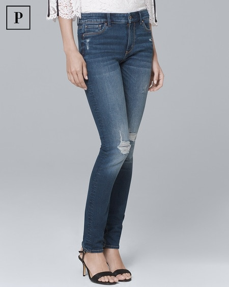 Petite Mid-Rise Destructed Skinny Jeans
