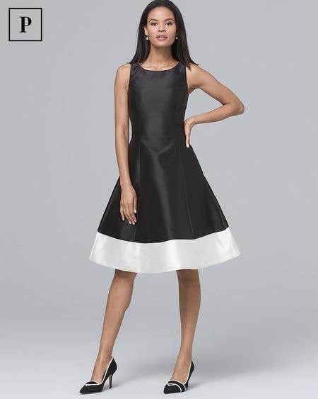Petite Two-Tone Fit-and-Flare Dress
