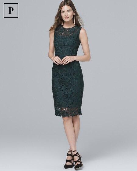 Petite Illusion-Neck Lace Sheath Dress