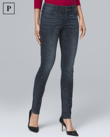 Petite Mid-Rise Stud-Front Skinny Ankle Jeans