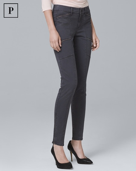 Petite Mid-Rise Ball-Chain Skinny Ankle Jeans