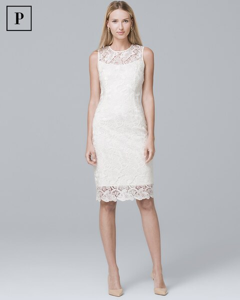 Petite Illusion-Neck White Lace Sheath Dress - White House Black Market