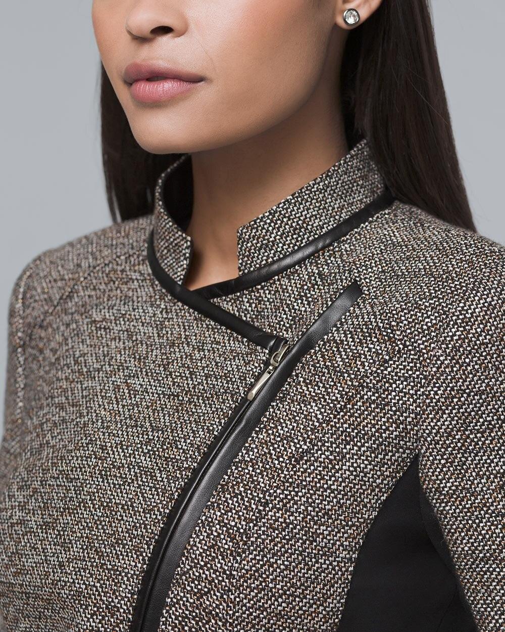5c940e2101 Faux Leather-Trim Tweed Moto Jacket