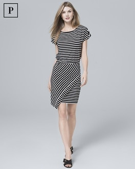 Petite Wrap-Overlay Stripe Knit Dress | Tuggl
