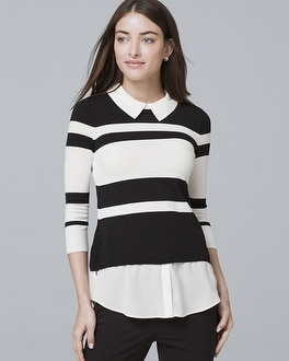 Stripe Twofer Sweater by Whbm