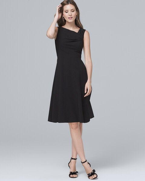Asymmetric Pleat Front Black A Line Dress White House Black Market