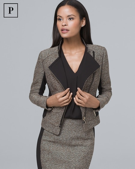 Petite Faux Leather-Trim Tweed Moto Jacket