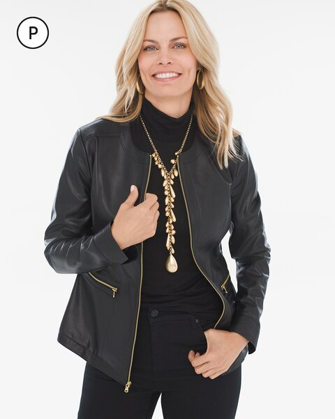 Petite Faux-Leather Jacket