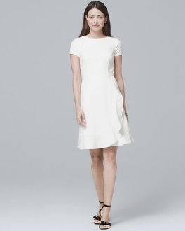 Flounce Detail White A Line Dress by Whbm