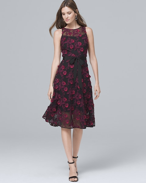 Lace Applique Midi Fit And Flare Dress