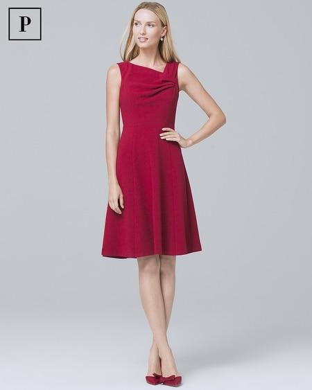 Petite Asymmetric Pleat-Neck A-Line Dress