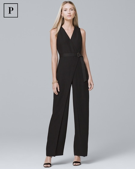 Petite Black Crepe Wide-Leg Jumpsuit