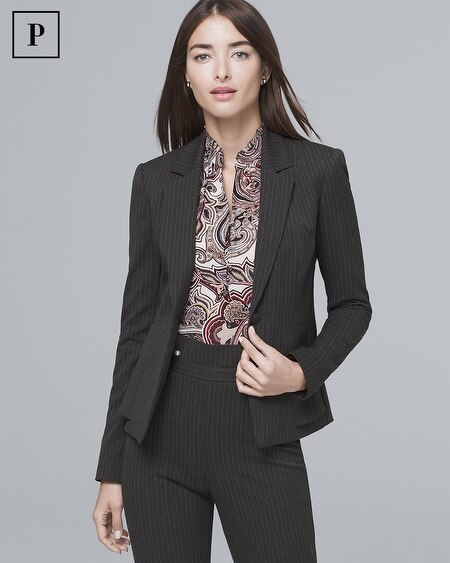 Petite Pinstripe Blazer Suitng Jacket