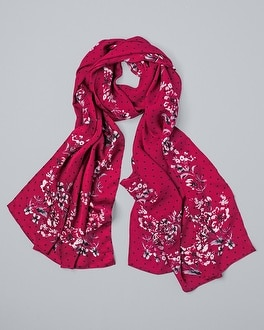 Silk Floral Dot Oblong Scarf by Whbm