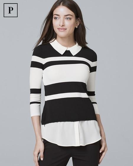 Petite Stripe Twofer Sweater
