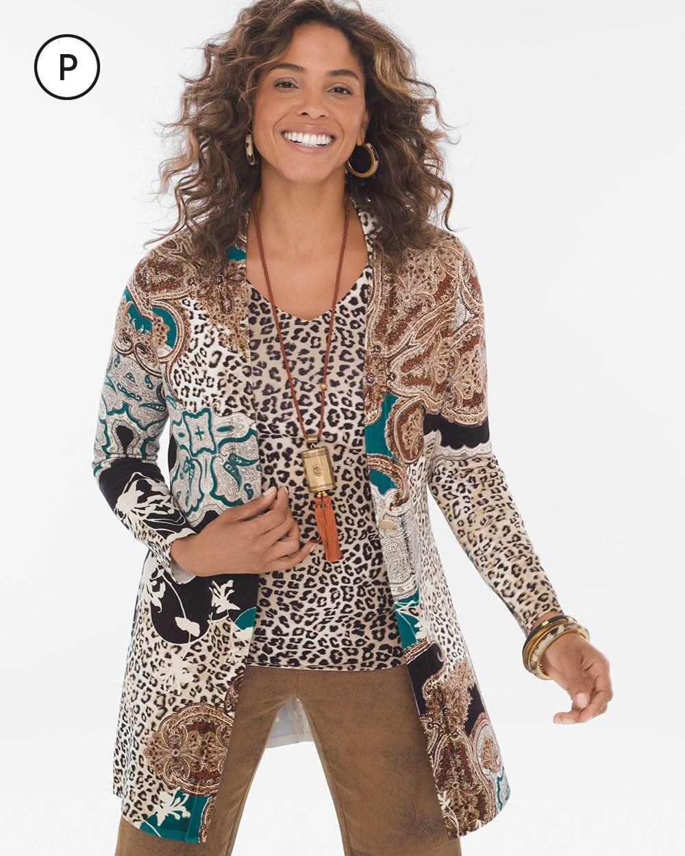 Petite Mixed Leopard-Print Cardigan