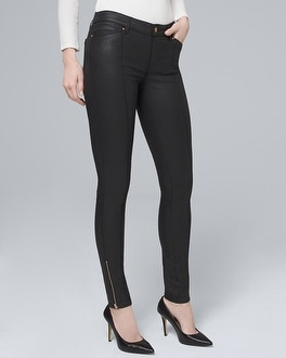 Mid-Rise Coated Skinny Ankle Jeans | Tuggl