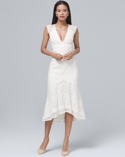 Fluted-Hem White Lace Sheath Dress - White House Black Market