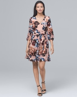 Floral-Burnout Blouson Dress | Tuggl