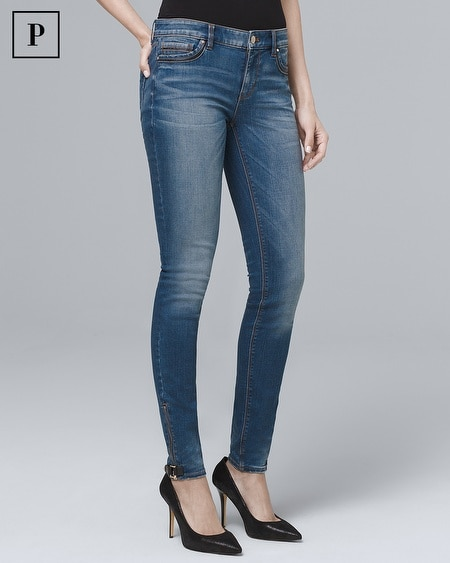 Petite Classic-Rise Faux Leather-Trim Skinny Ankle Jeans