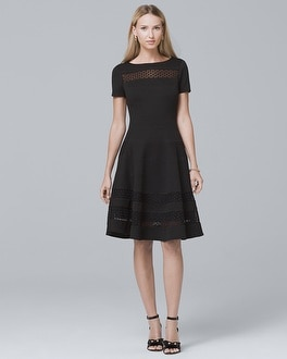 Banded Black Fit-and-Flare Dress | Tuggl