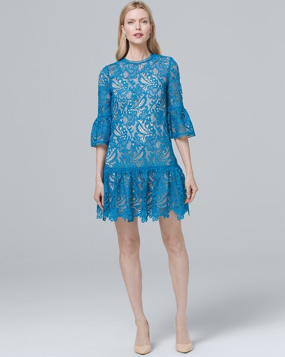 Dropped Waist Lace Shift Dress White House Black Market