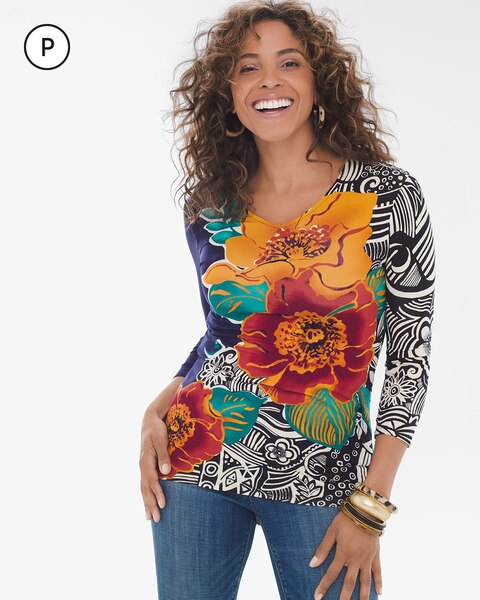 Petite 35th Anniversary Floral V-Neck Top