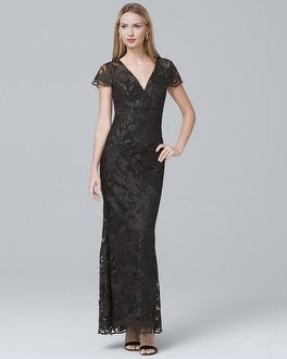 V-Neck Black Lace Gown | Tuggl