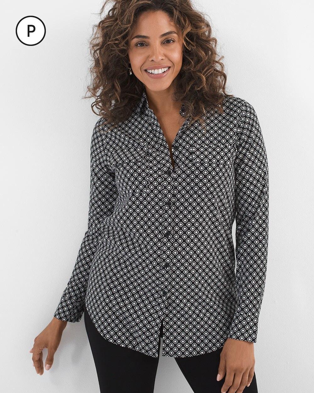 Petite Silky Soft Geometric-Print Shirt