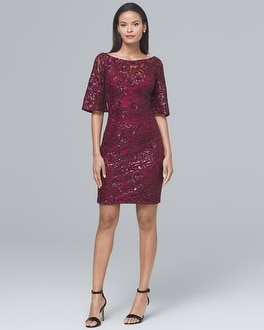 Sequin-Sleeve Sheath Dress | Tuggl
