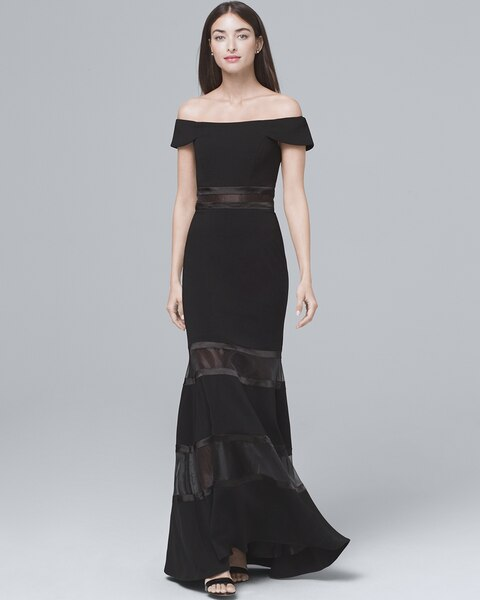 b047896be72a Return to thumbnail image selection Black Off-The-Shoulder Banded Gown  video preview image