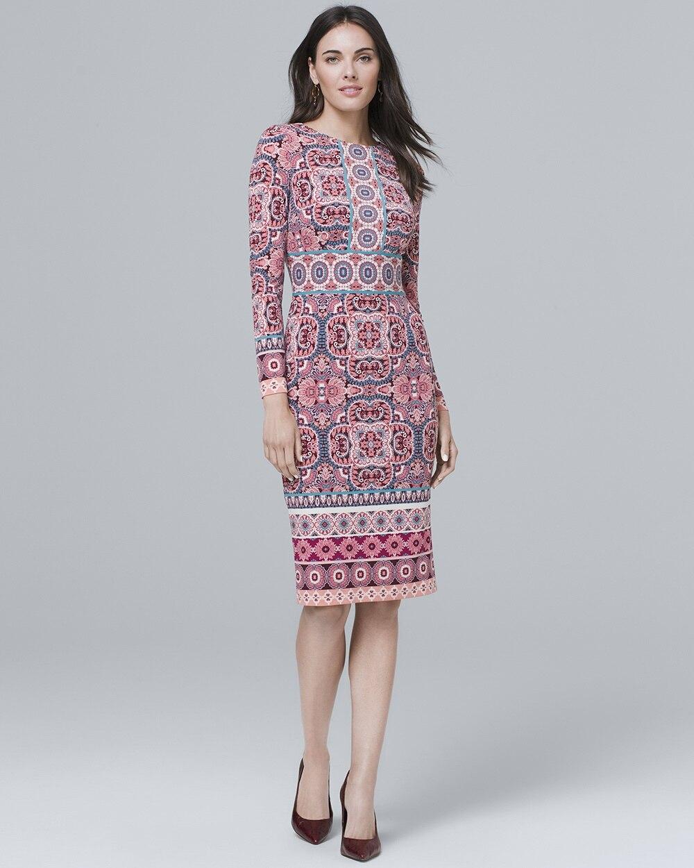 23161f104ec4 Medallion-Print Knit Sheath Dress - White House Black Market