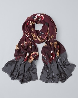 Studded Floral Print Oblong Scarf by Whbm