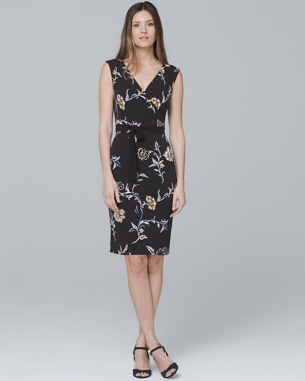 Reversible Floral/Solid Black Faux Wrap Knit Dress