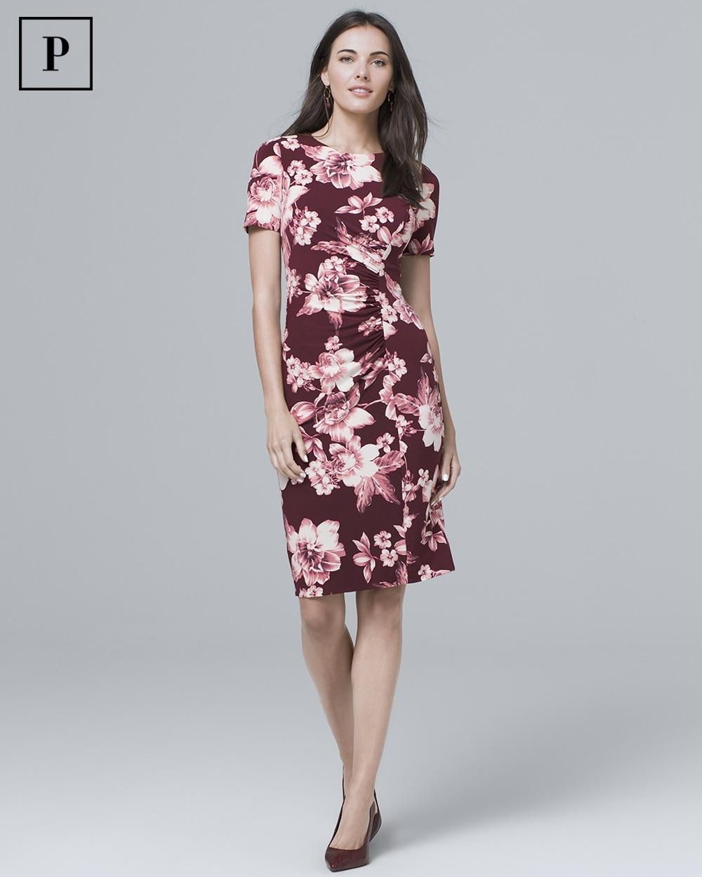 Petite Short Sleeve Floral Knit Sheath Dress White House Black Market