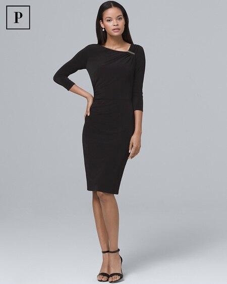 Petite Draped Black Knit Sheath Dress