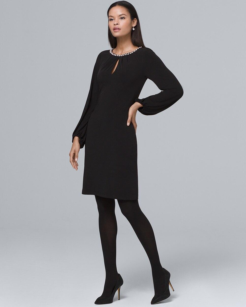 Black Shift Dress and Tights