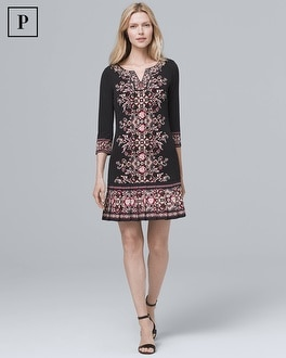 Petite Embellished Neckline Pleat Hem Knit Shift Dress by Whbm