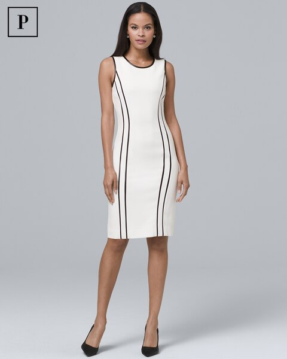 8e606463 Petite Faux Leather-Trim Sheath Dress - White House Black Market