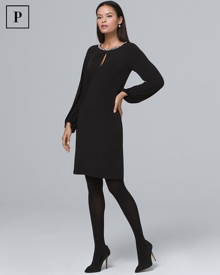 Petite Faux Pearl-Neckline Black Knit Shift Dress
