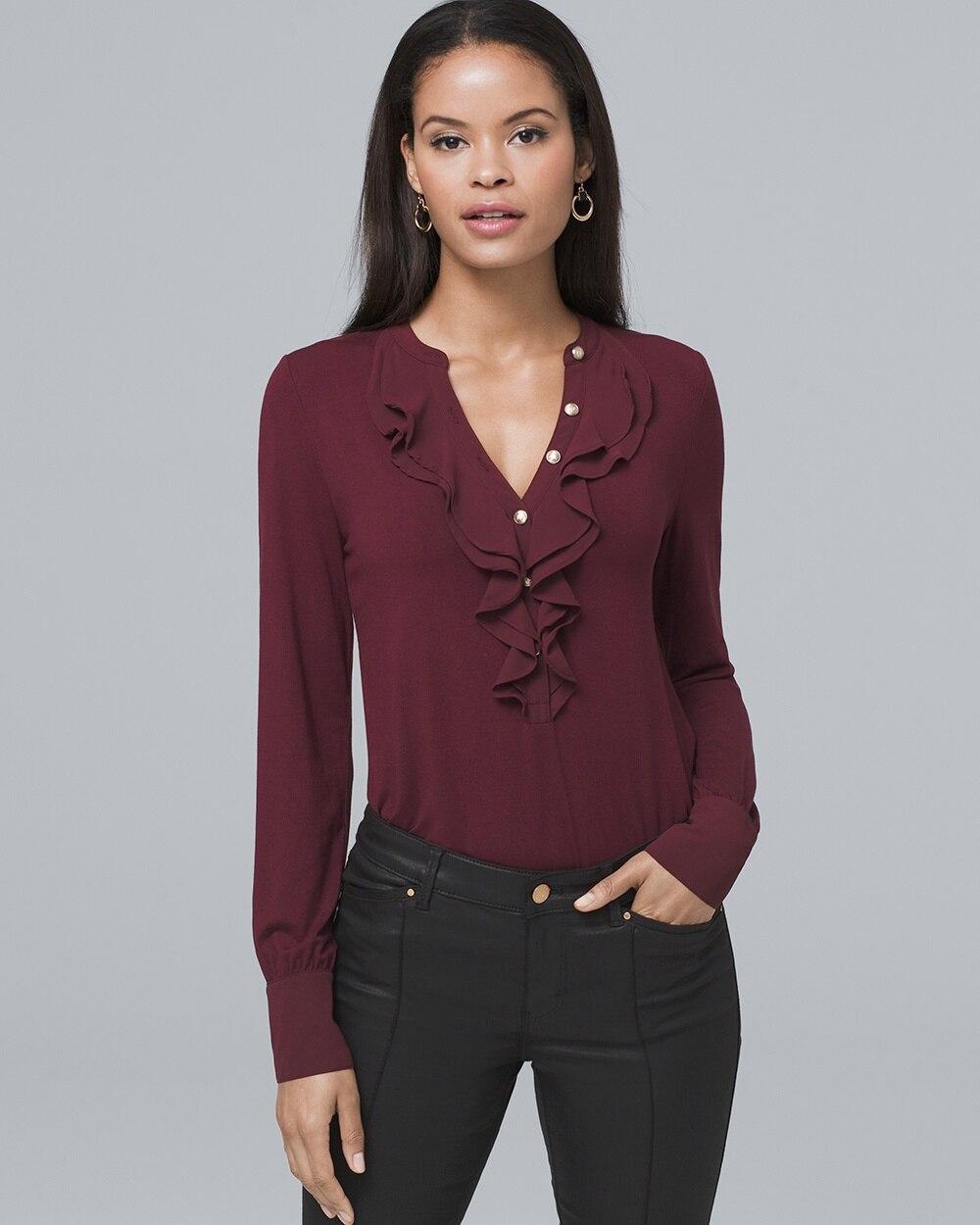 59c05039a Ruffle-Trim Military-Button Knit Blouse - White House Black Market