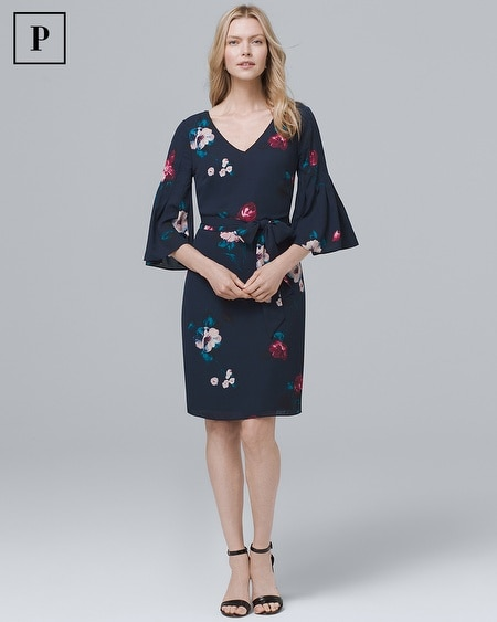 Petite Bell-Sleeve Soft Floral-Print Shift Dress