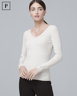 Petite Button Detail V Neck Sweater by Whbm