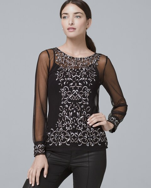 329191b2f92 Floral-Embroidered Mesh Top - White House Black Market