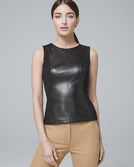 Faux Leather Bodice Top by Whbm