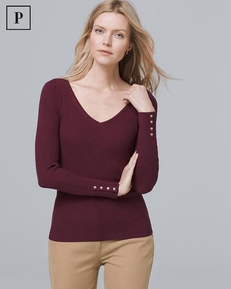 Petite Button-Detail V-Neck Sweater